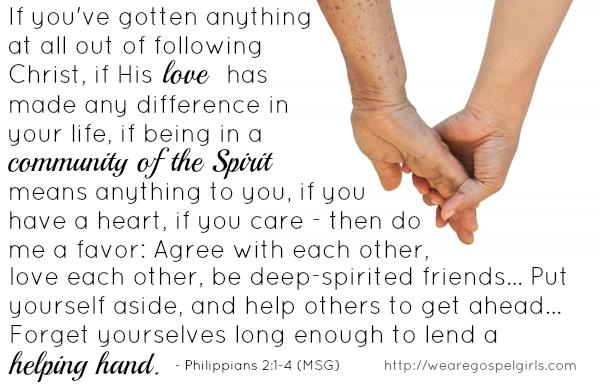 lend a helping hand - Phil 2:3 | gospel girls