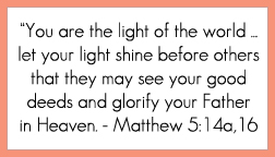 Matthew 5:14a,16 printable memory verse card