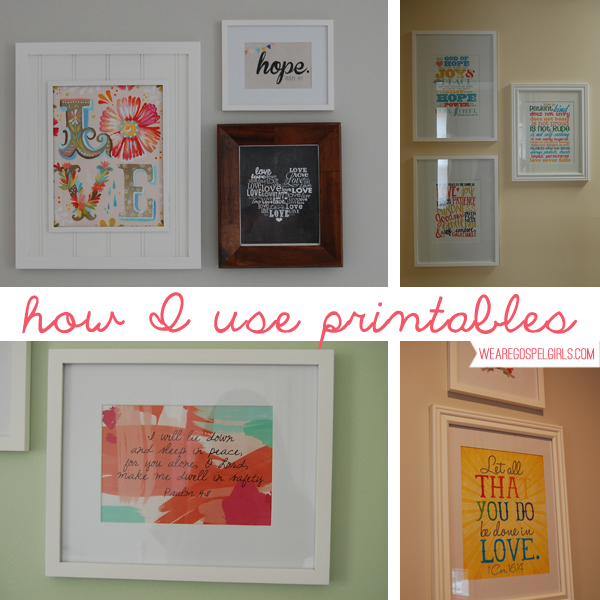 how I use printables as art