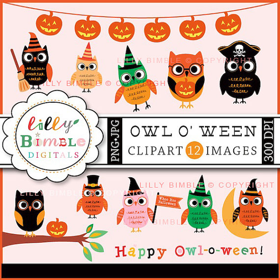 Owloween Clipart by LillyBimble