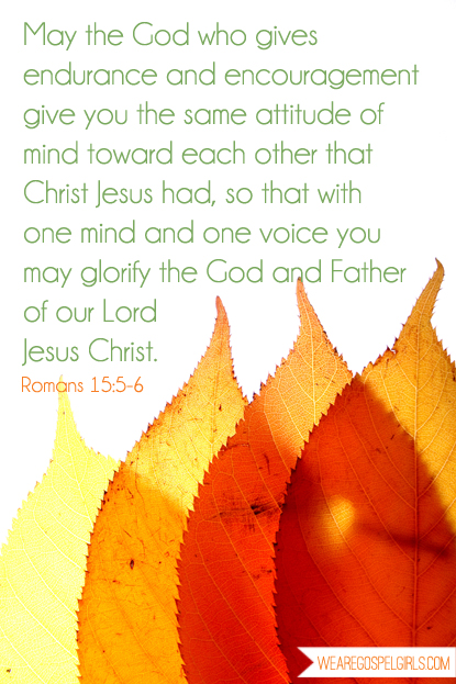 May the God who gives endurance and encouragement give you the same attitude of mind toward each other that Christ Jesus had...Romans 15:5-6 #dosesofhope #31Days