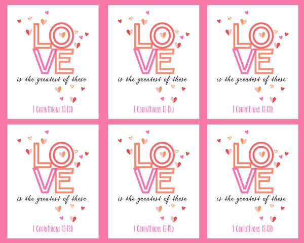 1 Corinthians 13:13b free printable valentines #freeprintables #scripture #bible