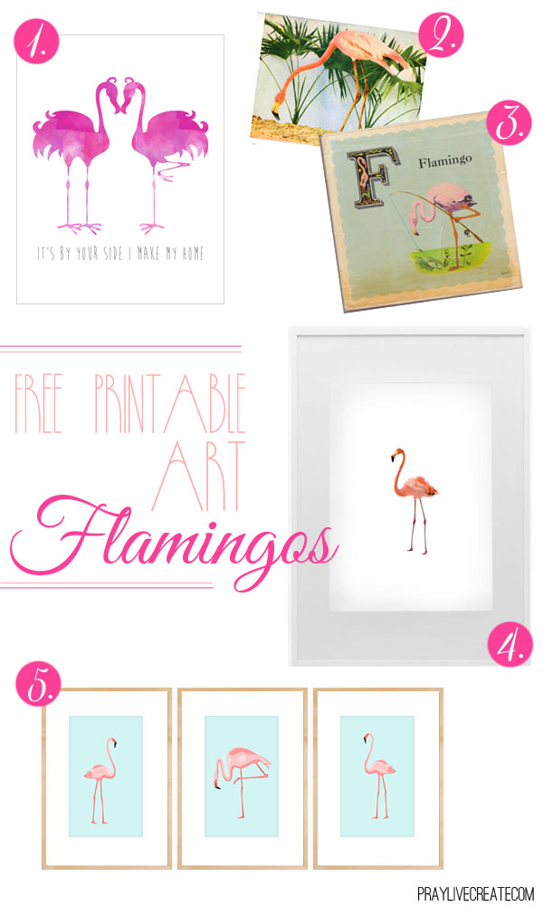 5 different FREE flamingo art printables
