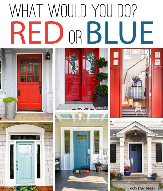 Gorgeous red front doors and beautiful blue front doors. I love these!