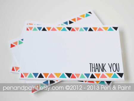 triangle thank you cards by penandpaper