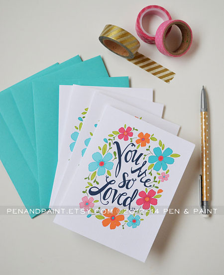 You are So Loved Floral Folded Note Card by penandpaper