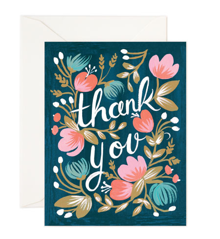 midnight garden thank you card by rifle paper co